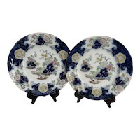 """Pair G L Ashworth Staffordshire Floral Chinoiserie 10"""" Dinner Plates"""