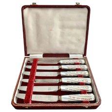 Boxed Set of 6 Porcelain Handle Sheffield Fruit Dessert Knives