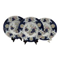 """3 G L Ashworth Staffordshire Floral Chinoiserie 10"""" Soup Plates"""