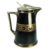Antique Staffordshire Jackfield Syrup Pitcher with Lid