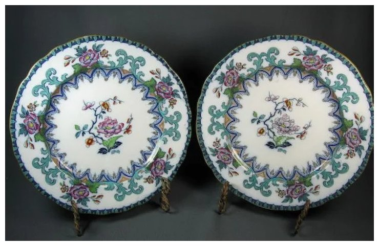 Pair Charles Meigh Gothic Polychrome Dinner Plates c 1850 & Pair Charles Meigh Gothic Polychrome Dinner Plates c 1850 ...