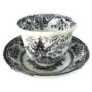 Antique Staffordshire Black Transferware Ironstone Handleless Cup and Saucer
