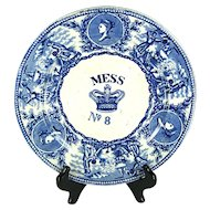 "British Navy Mess No 8 Plate ""Young Head and Crown"", Mid 1800s"