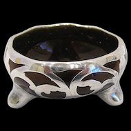 Sterling Silver Cased English Pottery Salt Dip