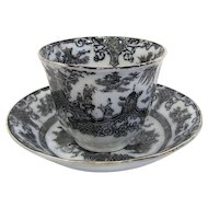 1840s Handleless Cup and Saucer, Ning Po Mulberry Transferware