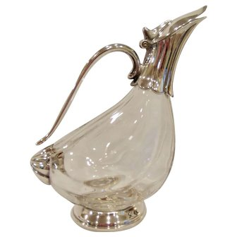 Silver and Glass Duck Wine Carafe Decanter