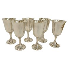 6 Mid Century Wallace Silverplate Goblets #603