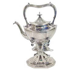 Reed & Barton Chippendale Engraved Silver Teapot or Water Kettle on Stand