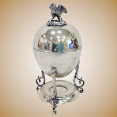 Antique Victorian Silver Egg Holder Server