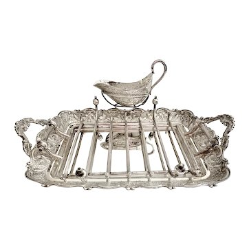 Silver Asparagus Serving Tray with Sauce Boat and Rack