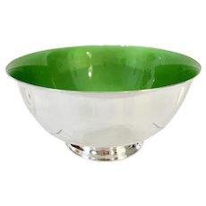 "Mid Century Reed & Barton 8"" Green Enamel Silver Bowl"