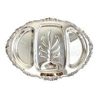 Wallace Baroque Silver Meat 3 Section Serving Tray