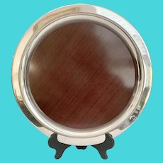 Mid Century Silver and Woodgrain Formica Tray
