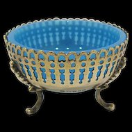 Continental Silver Footed Salt with Blue Glass Insert