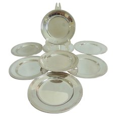 "Set of 8 Sterling Silver 6"" Bread and Butter Plates"