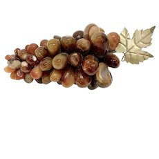 Vintage Agate Stone Grapes Cluster