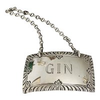 Stieff Sterling Silver Gin Williamsburg Liquor Decanter Label