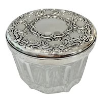 Beautiful Sterling Silver Lidded Powder Jar
