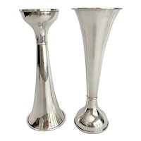 Pair International Sterling Silver Flippable Vases and Candleholders