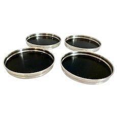 4  Mid Century Sterling Rimmed Black Melamine Coasters