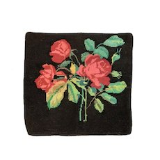 Gorgeous Vintage Roses Needlepoint Tapestry Pillow Cover