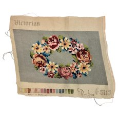 Vintage Hand Worked Needlepoint Tapestry English Victorian Flowers