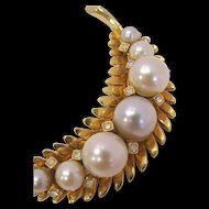 Beautiful Corocraft Pearl and Rhinestone Leaf Brooch