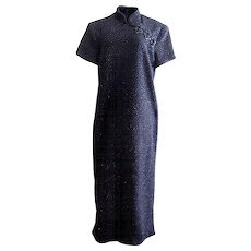 Vintage Black Cheongsam Evening Dress with Black Sequins