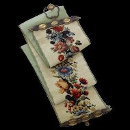 Vintage Long Floral Needlepoint Bell Pull
