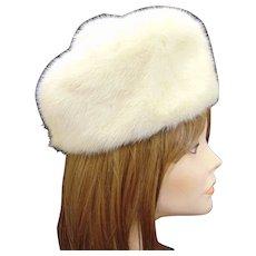 Vintage Winter Fashion White Mink Pillbox Hat with Pompom