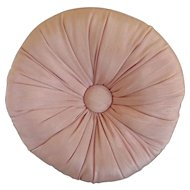 Vintage Pink Round Toss Pillow with Center Button
