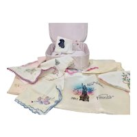Vintage Handkerchief Box with 10 Handkerchieves and Satin Bag