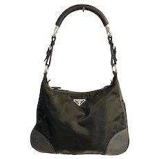 Prada Black Nylon and Leather Sport Shoulder Bag