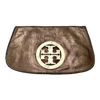 Tory Burch Bronze Leather Clutch Purse