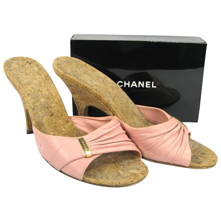 805fbc31b7b1 Vintage Chanel Shoes - Pink Slides