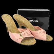 Vintage Chanel Shoes - Pink Slides, Mules Size 37