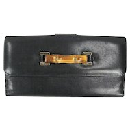 Gucci Black Leather & Bamboo Continental Wallet