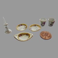 Vintage GERMAN Reutter Porzellan Porcelain Dollhouse Floral Set