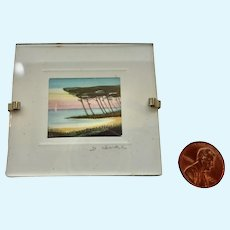 Paris, France French SIGNED Dollhouse Miniature SEASCAPE Print Picture