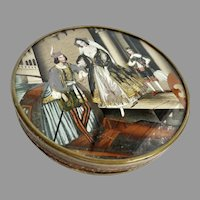 LARGE 19th century French Eglomise Bonbonniere Candy Box for Fashion Doll Display