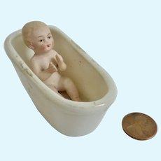 Antique GERMAN Bisque Miniature Dollhouse Piano Baby DOLL in BATH TUB