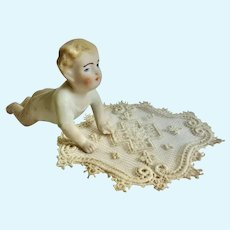GERMAN Bisque Piano BABY Dollhouse DOLL Crawling