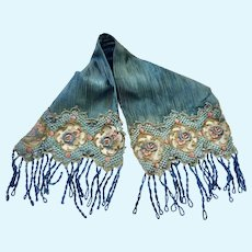Antique French DOLL Blue Pink Gold Lace Wrap Stole w Czech glass bead fringe