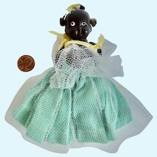 "1930's BLACK Americana Bisque 4"" DOLL w Hair & Original Bows"