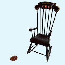 Vintage Artisan Handmade DOLLHOUSE MINIATURE Hitchcock Boston Rocking Chair
