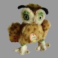 "Vintage 4"" Steiff Miniature WITTIE Mohair Owl w Original Tag"