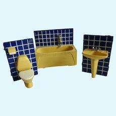 1970's Swedish LUNDBY Dollhouse Miniature Bathroom SET