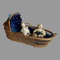 Antique Wicker DOLL Cradle w BLUE Lining & Bow