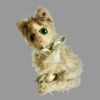 "RARE Antique 6.5"" STEIFF 1926 FLUFFY Long Mohair CAT w Underscore ff Button & Blue Ribbon"
