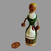 RARE Antique Erzgebirge Finland PEG Wooden Handmade Doll #2